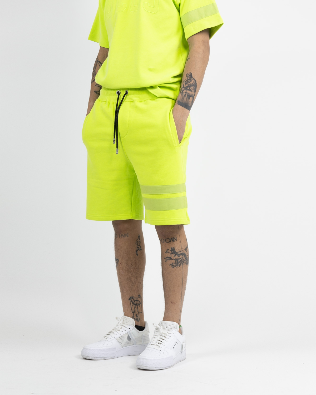 GCDS FLUO LOGO SHORTS YELLOW