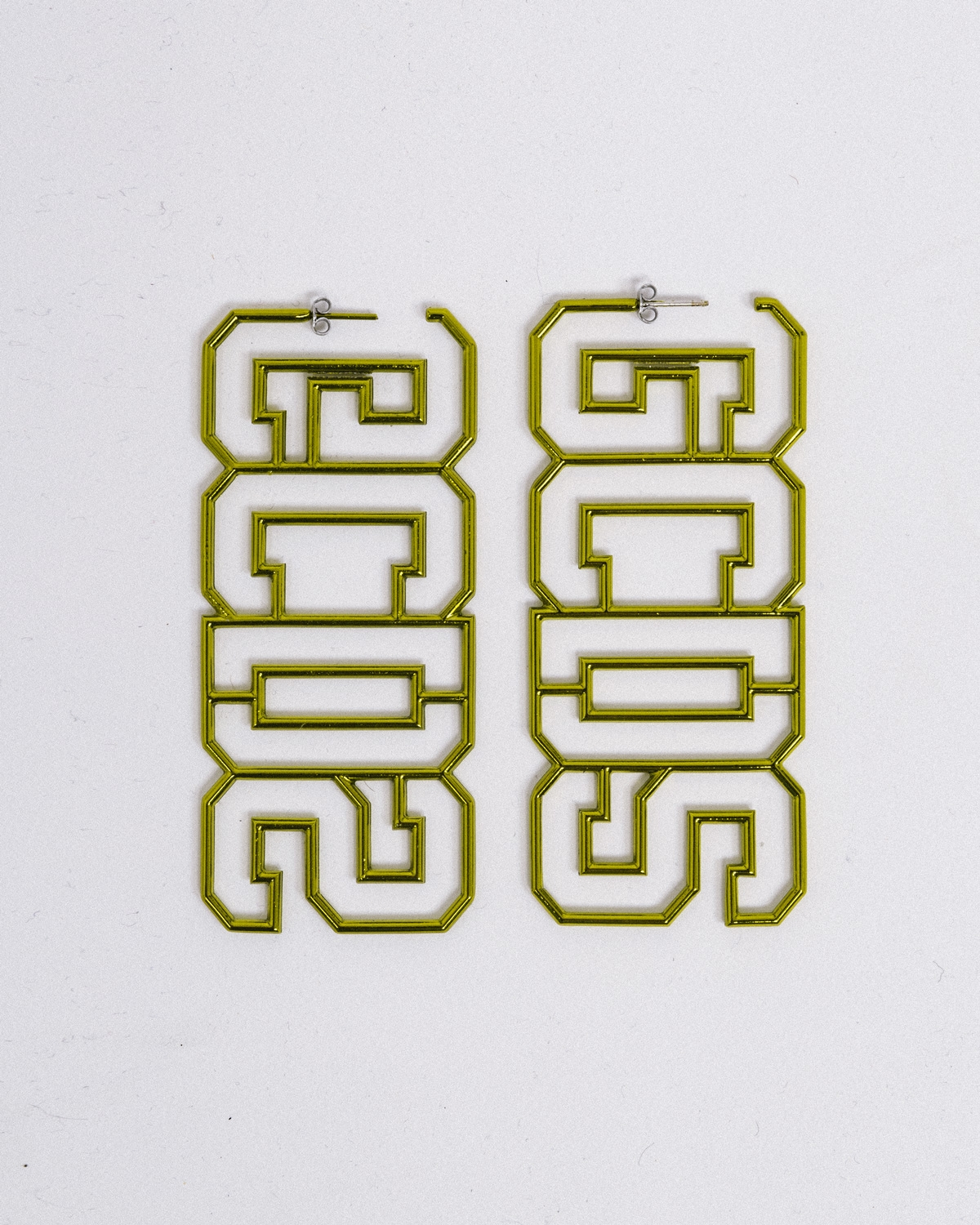 GCDS METAL LOGO EARRINGS