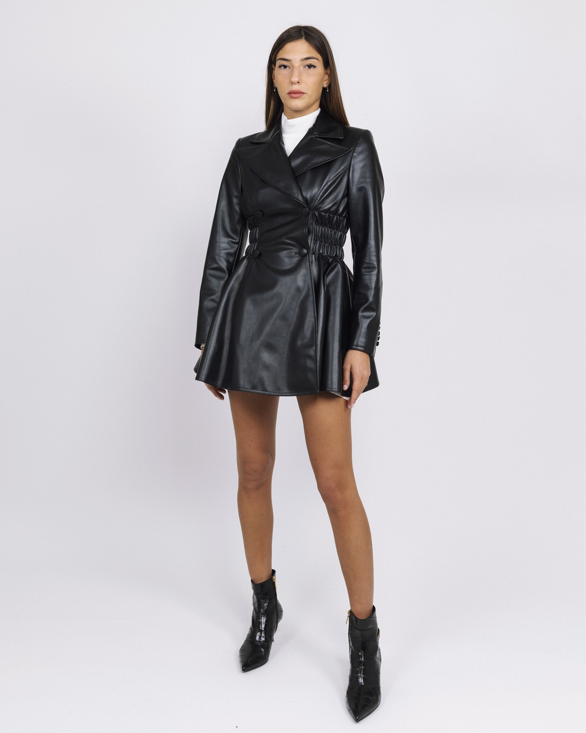 GCDS FAUX-LEATHER MINI DRESS