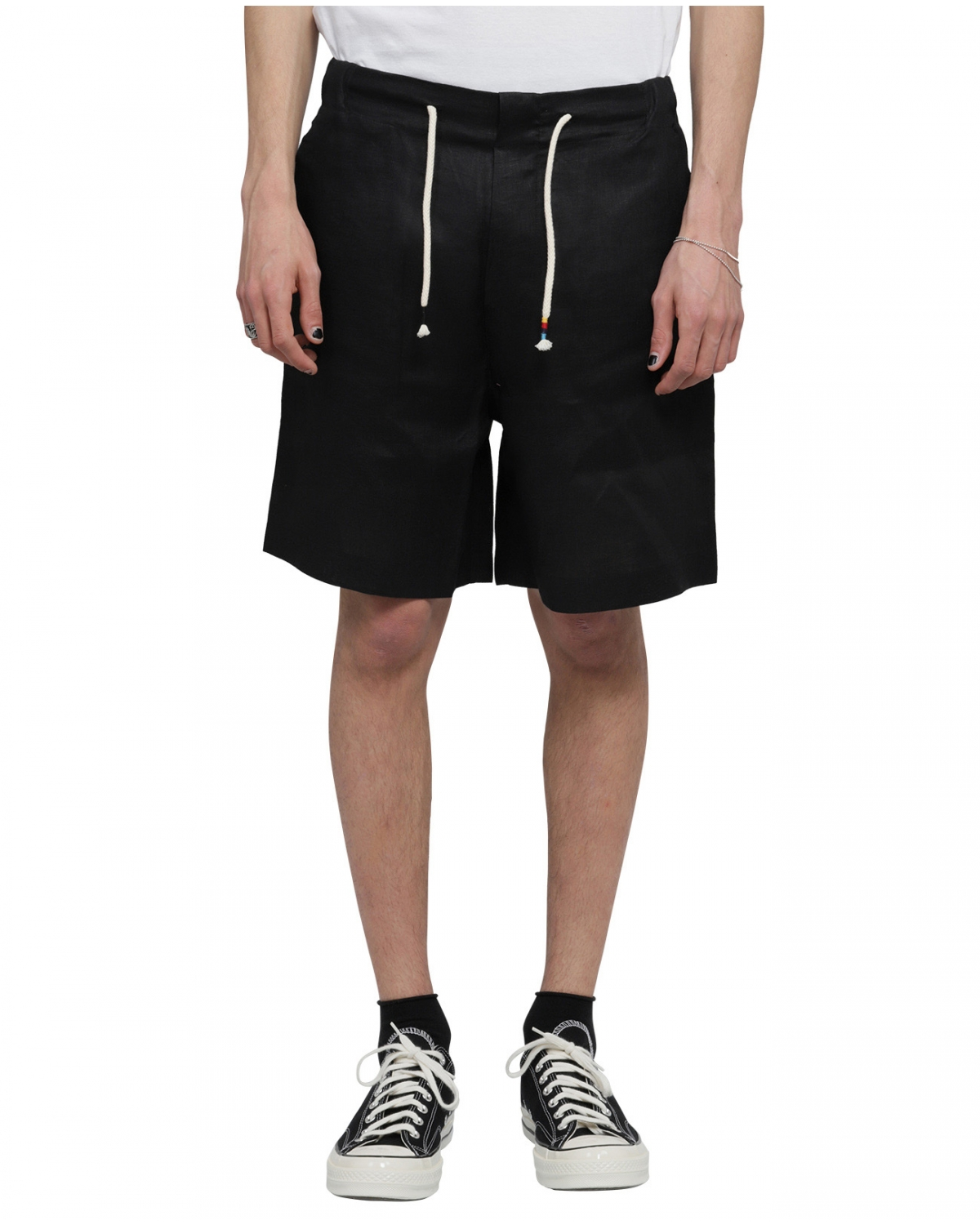 Silted black Coffin bermudas